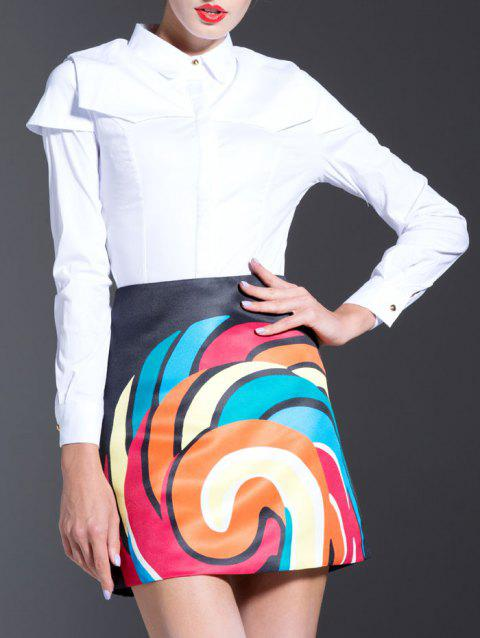 White Splicing Shirt + High Waist Printed Skirt Twinset - WHITE L