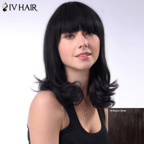 Fluffy Curly Siv Hair Medium Layered Full Bang Human Hair Wig - MEDIUM BROWN