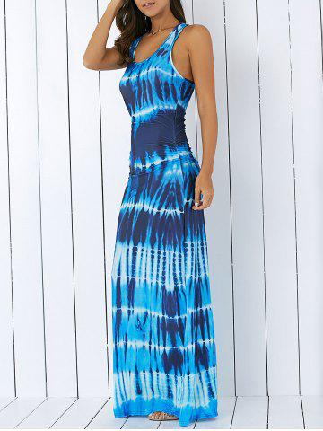 664792f47f Bohemian Tie-Dye Illusion Print Racerback Long Tank Dress
