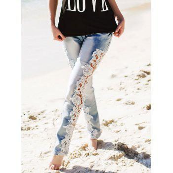 Attractive White Hollow Out Lace Spliced Bodycon Pencil Jeans For Women - AZURE M