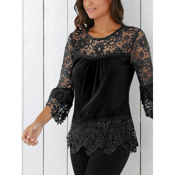 Lace Insert Crochet Lace Blouse - BLACK S