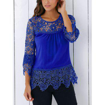 Lace Insert Crochet Lace Blouse - BLUE BLUE
