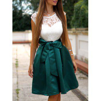 Vintage Round Neck Sleeveless Bowknot Embellished Spliced Women's Dress