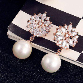 Pair of Faux Pearl Hollow Out Floral Rhinestone Earrings