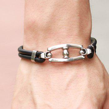Hollow Out Handrail Silicone Bracelet - BLACK
