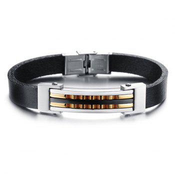 Uneven Alloy Faux Leather Bracelet