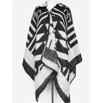Winter Warm Geometry Pattern Hooded Poncho