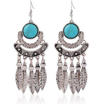 Faux Turquoise Leaf Tassel Earrings