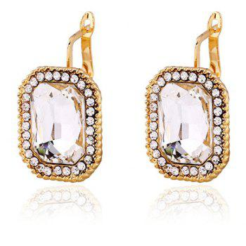 Inlay Faux Crystal Quadrate Clip Earrings