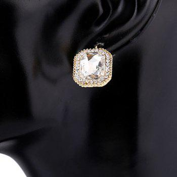 Inlay Faux Crystal Quadrate Clip Earrings - GOLDEN
