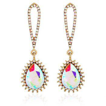 Banquet Party Cut Out Rhinestone Inlay Teardrop Pendant Earrings