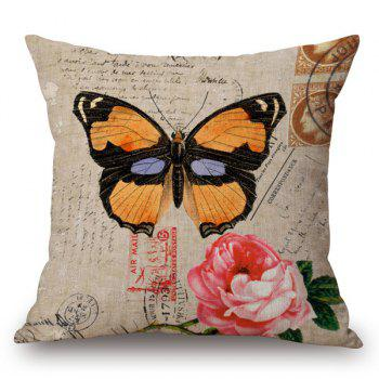 Retro Style Danaidae and Rose Printed Pillow Case
