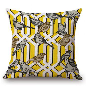 Casual Style Handpainted Birds and Fence Pattern Pillow Case
