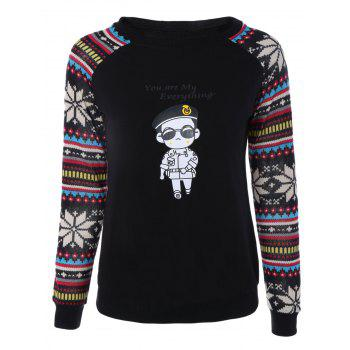 Raglan Sleeves Cartoon Print Sweatshirt