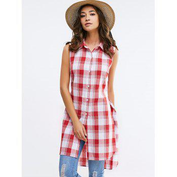 Fashionable Shirt Collar Broadside Slit Sleeveless Lattice Shirt For Woman - RED/WHITE RED/WHITE