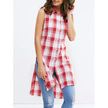 Fashionable Shirt Collar Broadside Slit Sleeveless Lattice Shirt For Woman - RED WITH WHITE RED/WHITE