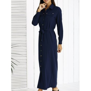 Tie Waist Long Sleeves Shirt Maxi Dress