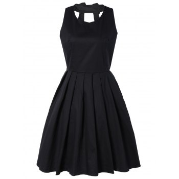 Pure Color Back Bowknot Hollow Out Pleated Dress