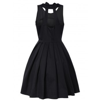 Pure Color Back Bowknot Hollow Out Pleated Dress - BLACK BLACK