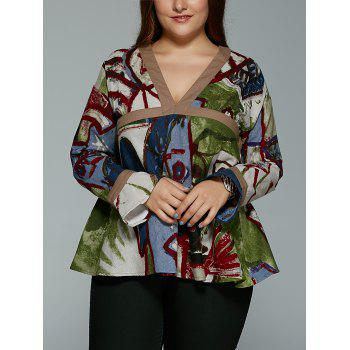 Plus Size Vintage Tribal Print V Neck Blouse