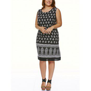 Plus Size Tribal Print Casual Sleeveless Dress