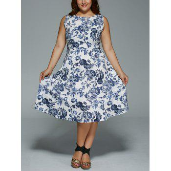 Plus Size Floral Print Sleeveless Tea Length Dress