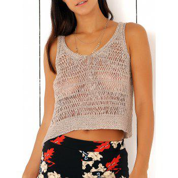 Scoop Neck Knitted Loose Crochet Cropped Tank Top