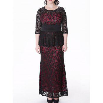 Plus Size Lace Peplum Maxi Evening Dress