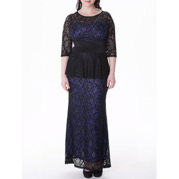 Plus Size Peplum Long Lace Formal Dress
