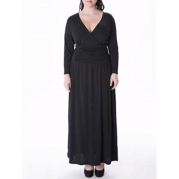 Plus Size V Neck Long Sleeve Prom Maxi Dress