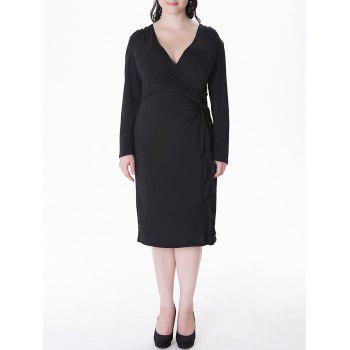 Plus Size V Neck Flounce Sheath Wrap Dress