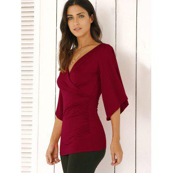 Wrap Plunge Neck Slimming Blouse - WINE RED M