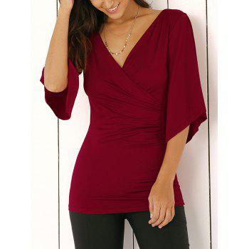 Wrap Plunge Neck Slimming Blouse - WINE RED WINE RED
