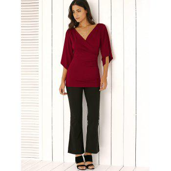 Wrap Plunge Neck Slimming Blouse - S S