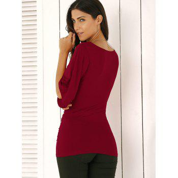 Wrap Plunge Neck Slimming Blouse - WINE RED S