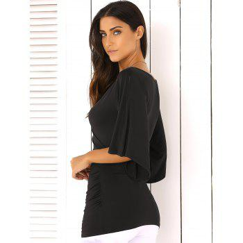 Wrap Plunge Neck Slimming Blouse - BLACK S