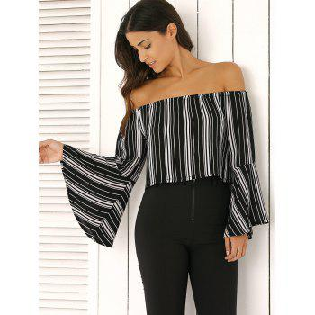 Off The Shoulder Bell Sleeve Stripe Cropped Blouse - M M