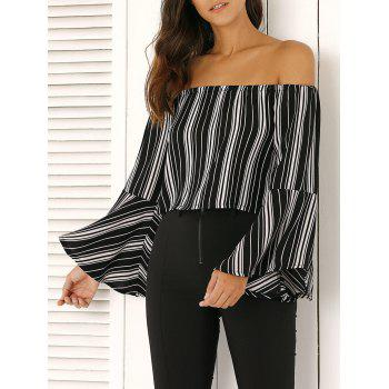 Off The Shoulder Bell Sleeve Stripe Cropped Blouse