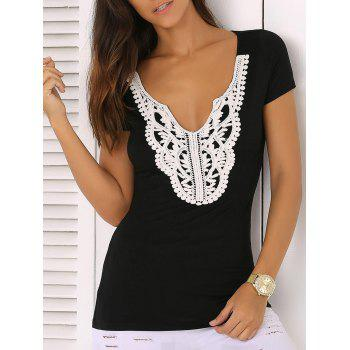 Scalloped Plunge Neck Lace Spliced Jabot Sliming T-Shirt