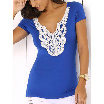 Buy Scalloped Plunge Neck Lace Spliced Jabot Sliming T-Shirt SAPPHIRE BLUE