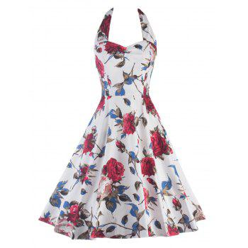 Halter Floral Print Backless Pin Up Dress