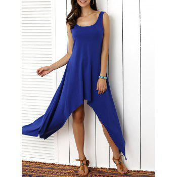 Scoop Neck Solid Color Asymmetrical  Dress
