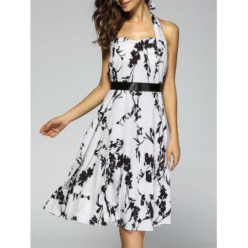 Retro Floral Print Halter Sweetheart Neck Flare Dress