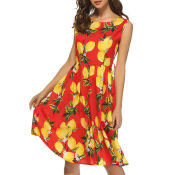 Retro Lemon Print Sleeveless A Line Dress