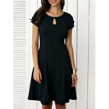 Keyhole Short Sleeve Cut Out Fit and Flare Dress