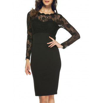 Ruffle Neck Lace Spliced Sheer Slimming Dress