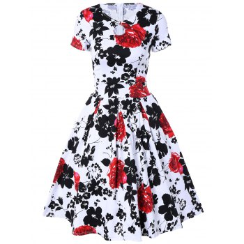 Retro Hole Floral Print High Waisted Fit and Flare Dress