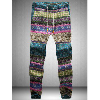 Drawstring Waist Tribal Printed Jogger Pants