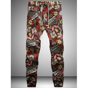 Retro Drawstring Waist Flower Printed Jogger Pants