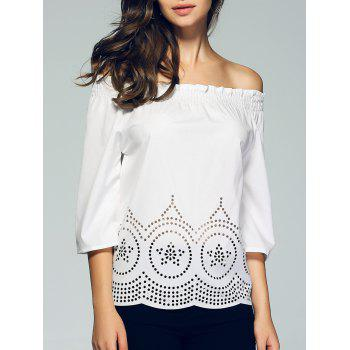 3/4 Sleeve Lace Crochet Off The Shoulder Blouse